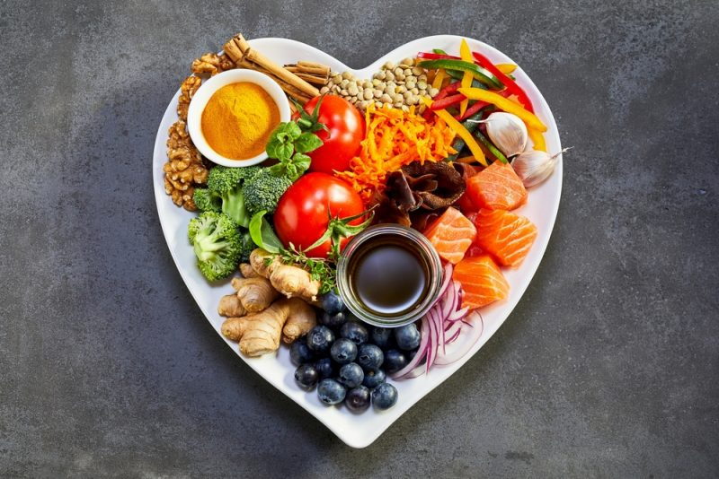 healthy food on a heart plate