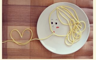 spaghetti in concept lover in vintage color
